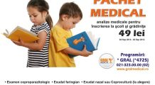 OFERTĂ SPECIALĂ ȘI LIMITATĂ pentru analizele necesare la intrarea copiilor în colectivitate
