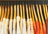 close up of wooden clothes hangers