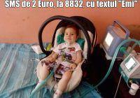 """La nici 2 ani, Emi risca sa nu mai poata respira. Un simplu SMS de 2 Euro, la 8832, cu textul """"Emi"""" îi poate salva viaţa"""