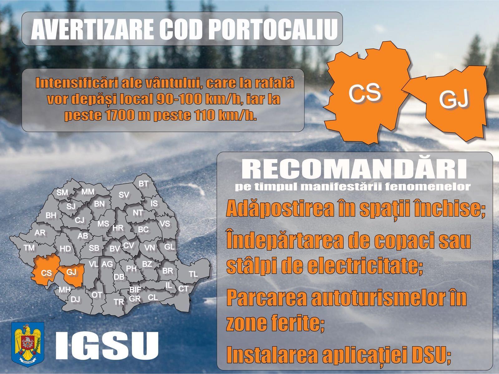 """Avertizarea de ultimă oră a meteorologilor și IGSU: """"Vântul va sufla cu peste 100 km pe oră"""". Ce județe intră sub cod portocaliu"""