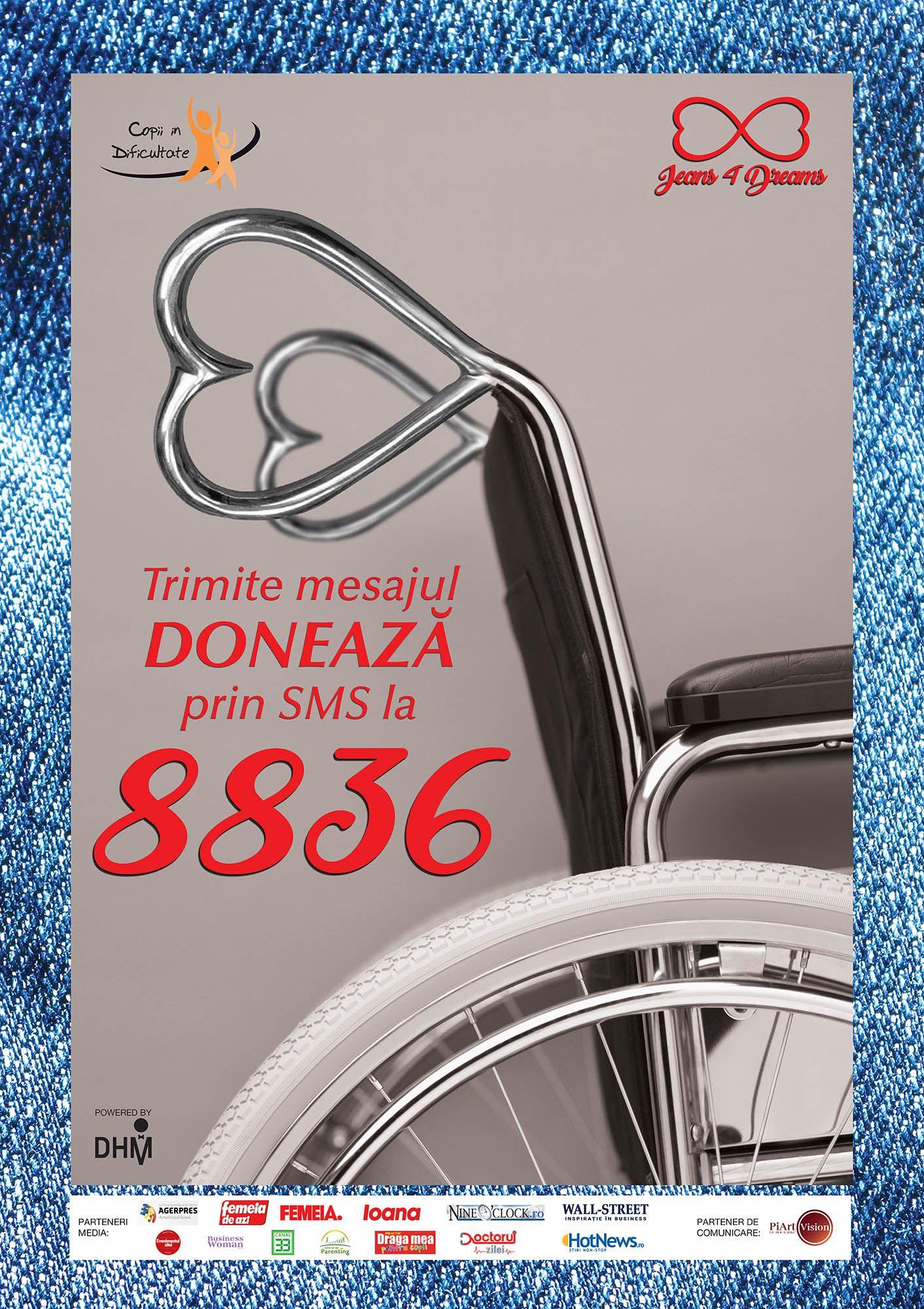 Acum poți dona 2 Euro prin SMS pentru copiii aflați în dificultate trimițând mesajul DONEAZĂ la 8836