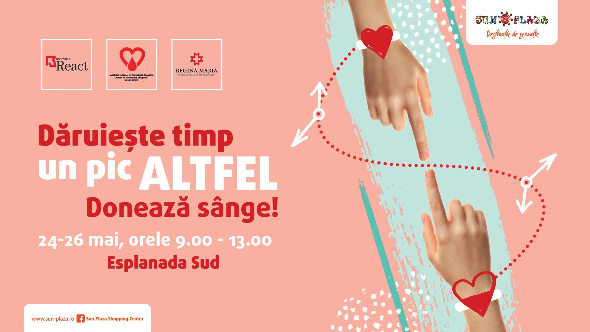 Vino și salvează o viață! Donează sânge în perioada 24 - 26 mai la mall. Cu o singură donare poți salva trei vieți omenești